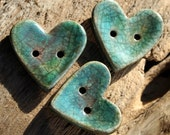 Handmade RAKU Turquoise Heart Button Set of 3