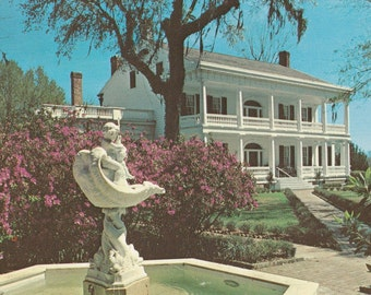 Vintage 1970s Postcard St. Francisville Louisiana Rosedown Plantation Mansion Architecture Building Gardens Photochrome Era Postally Unused