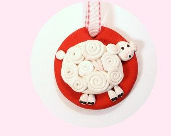 Lamb Ornament, Whimsical Lamb Ornament, Sheep Ornament, Baby Gift, Baptism Gift, Nursery Decor, Handmade Polymer Clay