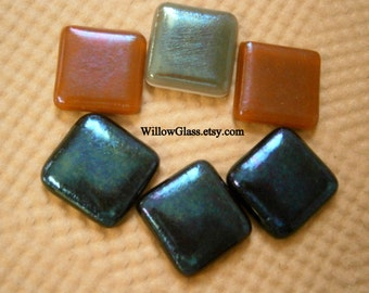 Fused Glass Cabochons 6 in Iridescents,  SALE Glass Cabs, Willow Glass Cabochons