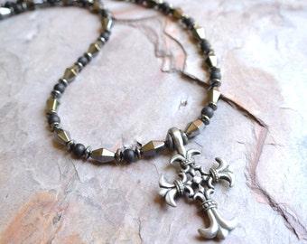 The Calvin- Men's Hematite Cross Necklace