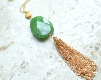 The Maggie- Green Jade and Gold Tassel Necklace