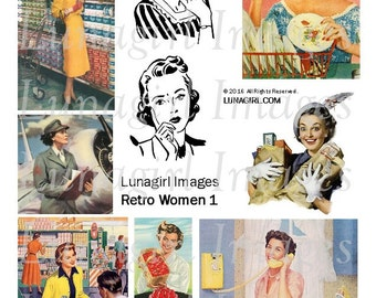 RETRO WOMEN digital collage sheet, 1950s housewives ladies, vintage images, kitsch Mid-Century advertising art, kitchen Fifties mom DOWNLOAD