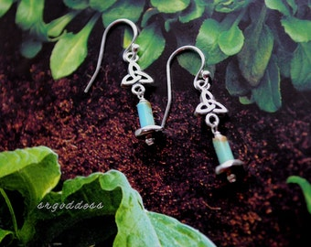 TRIQUETRA sterling silver and turquoise earrings by srgoddess