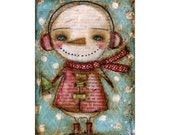 A warm snowman - Giclee Reproduction Of Original Collage Painting By Danita Art (Paper Prints and ACEO Wood Mounted)