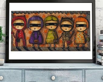 Halloween Parade - A whimsical art print on paper with the mixed media art of Danita. A great decoration for your Halloween!