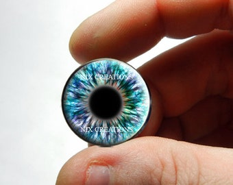 Zombie Glass Eyes - Human Doll Eyeballs Handmade Glass Cabochons - Design 2 - Pair or Single - You Choose Size