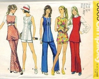Simplicity 5069 Misses Tunic, Shorts, Pants 70s Vintage Sewing Pattern Size 12 Bust 34