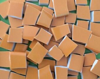 Orange Mosaic Tiles Solid Color Broken China Mixed Media Art Tile