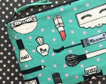 Cute zipper pouch, makeup bag, change purse, phone case, bag organizer