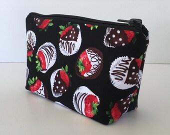 makeup bag, cosmetic bag, chocolate covered strawberries, zipper bag, zipper pouch, strawberries, chocolate, purse organizer, (439)