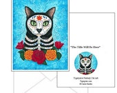 Day of the Dead Cat Cards Mexican Sugar Skull Cat Fantasy Cat Art 2 Note Cards Set Cat Lovers Gift