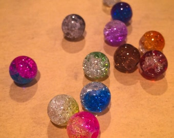 25pcs SHATTERED GLASS BEADS Double Colors 8mm