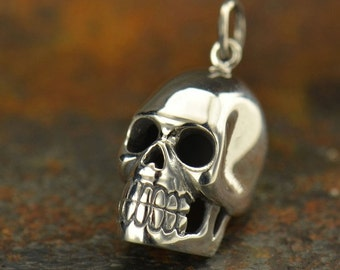 Large sterling silver skull pendant for mens necklace, biker jewelry