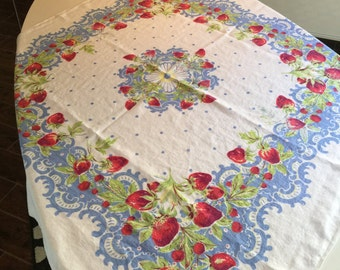 Vintage Table Linen - Robins Egg Blue Lace and Polka Dots w/ Strawberry Patch Center Medallion Tablecloth - Retro Colors