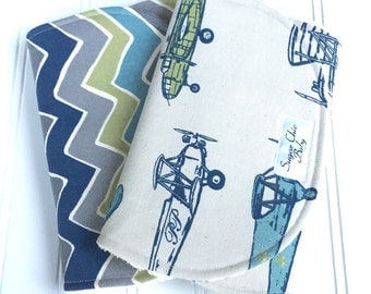 Baby Boy Burp Cloths - Airplanes Burp Cloth - Set of 2 - Super Absorbent Triple Layer Chenille  -  Vintage Blue Airplanes & Seesaw Chevron