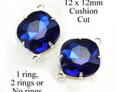 Sapphire Blue Glass Beads, Cushion Cut, Octagon, Silver Plated Brass Settings, 12mm x 12mm, Cabochon, Glass Gems, Rhinestones, One Pair