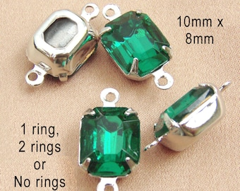 TWO Pairs, Emerald Green Glass Beads, Octagon, Silver Plated Brass Settings, 10mm x 8mm, Rhinestone Jewels, One or Two Rings, Glass Gems