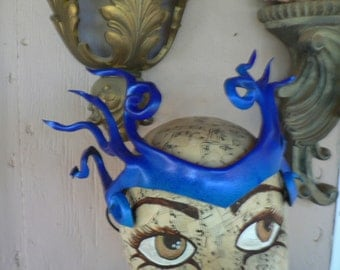 Dark blue blended into bright blue leather headpiece, Valkarie style leather crown by faerywhere