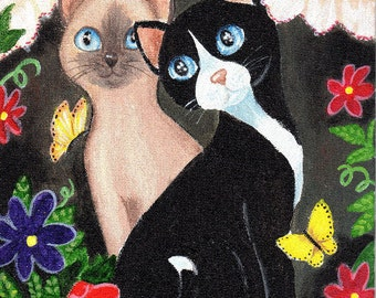 Tuxedo, Siamese Cats 2,  PRINT, Window, Flowers, Butterflies by Patricia Ann Rizzo