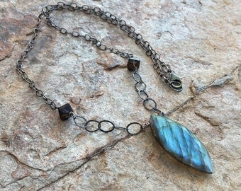 LABRADORITE necklace with Smoky Quartz, sterling silver artisan jewelry, Angry Hair Jewelry, handmade