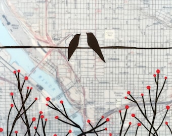 Portland / 8 x 8 Map Painting / Oregon Art / Map Art / Modern Decor / Wedding Art / Bird Art / Branches / Love Birds / Rachel Austin
