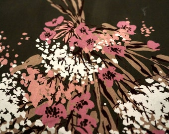 Vintage Fabric Craft Supplies & Tools Sewing Floral Cotton 1970s Sixties 60s Flower Taupe Tan Pink White Sateen Fabric