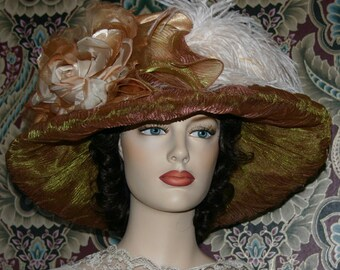 Edwardian Kentucky Derby Hat - Lady Agnes - Gold & Ivory ONE of a KIND
