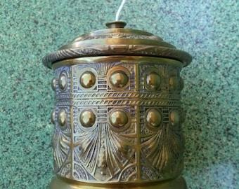 Vintage 1900s String Holder Twine Dispenser Arts and Crafts Brass Ornate