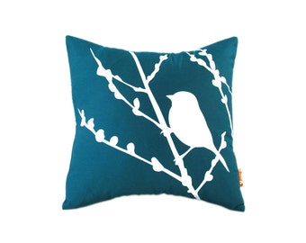 Dark Teal Bird on Cherry Blossom - Mini 10.5 Inches Square Pillow