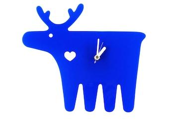 Cobalt Blue Moose Wall Hanging Clock - Wall Clock - Wall Decor