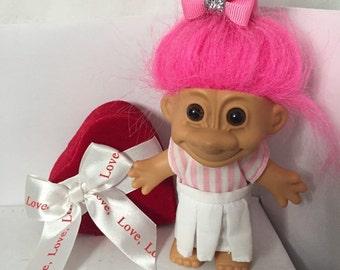 Vintage Russ Troll Doll Pink Candy Striper