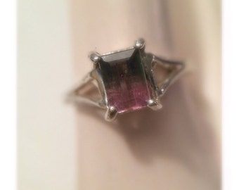 Bi Color Pink and Green Tourmaline Sterling Silver Ring Size 6 1/2 Free Shipping