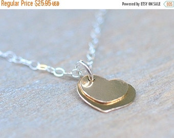 ON SALE Gold Heart Necklace 14 Karat Goldfilled Two Small Gold Heart Pendant Necklace Young Girl Jewelry Teen Girl Jewelry Gift for Her