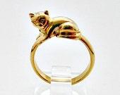 Avon Purring Kitty Vintage Ring - Size 5 - Vintage Avon Ring Jewelry