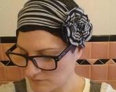 grey & black striped flapper girl headband