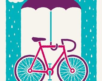 Spring Bike - Screenprinted Art Print