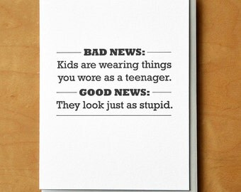 Kids These Days - Letterpress Birthday Card
