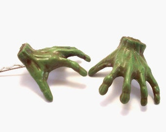 Creepy Hand Painted UNDEAD ZOMBIE HANDS Bobby Pins