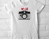 Women's Camera Tshirt - Katakana Graphic Tee - White American Apparel T-shirt - S,M,L,XL