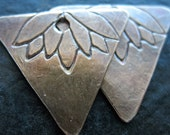 Lotus Stamped Triangle Antiqued Brass Charms - 1 pair