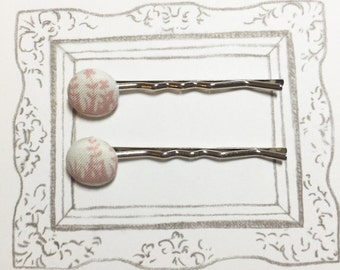 Pink Flowers Fabric Covered Bobby Pins