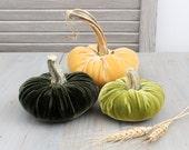 Green & Gold Velvet Pumpkins, Cozy Fall Decor