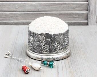 Vintage Repurposed Silverplate Pincushion, Vintage Linen & Lace, Elegant Sewing Tool