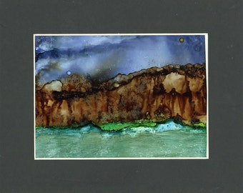 The Cliffs alcohol ink painting, alcohol ink art, mixed media art, landscape, home decor, watercolor