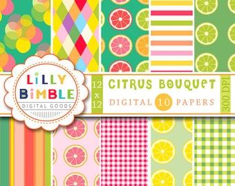 40% off Citrus digital papers with lemons, limes, grapefruit, summer scrapbook paper INSTANT DOWNLOAD