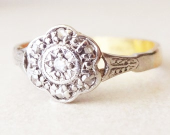 Art Deco Diamond Flower Ring, 22ct Gold Diamond Daisy Engagement Ring Approx. Size US 6