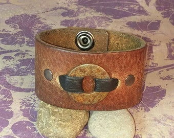Upcycled Distressed Wrist Cuff with Rusty Washer Accent - Medium