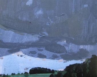 Coming Storm, Original Late Summer Landscape Collage Painting on Panel, Stooshinoff