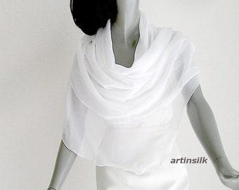"Pure White Shawl Wedding Sheer Chiffon Coverup Optic White Bridal, Evening Formal Shawl Natural Silk Chiffon, Stole 21x74"" M L XL, Artinsilk"
